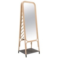 Floor Rattan Mirror 'Psyché' French Modern Design