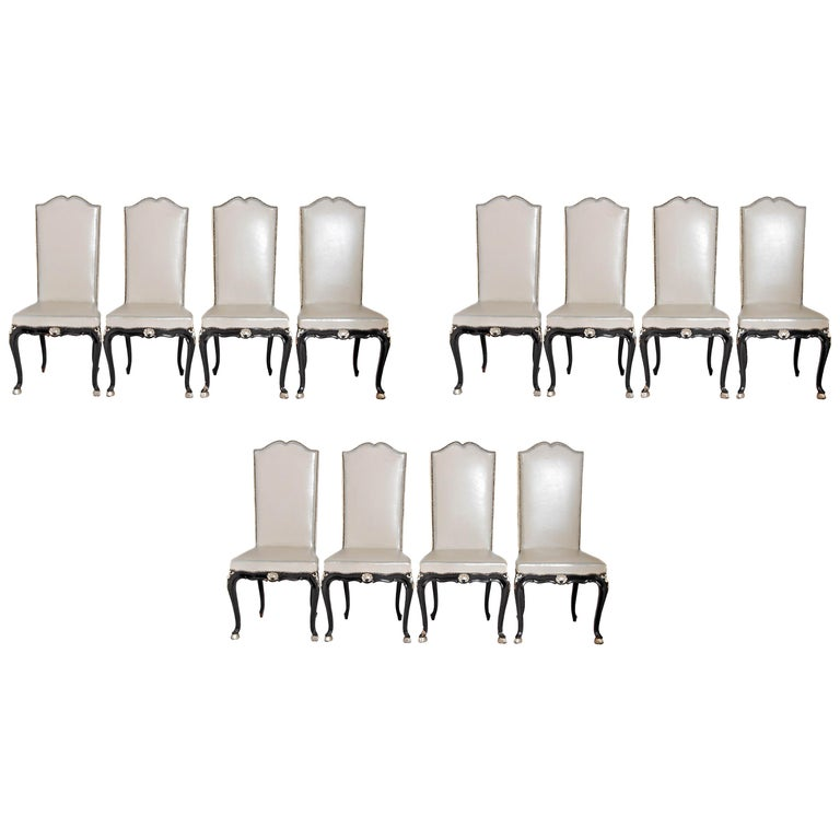 Louis XV Style Set of 12 Dining Chairs For Sale