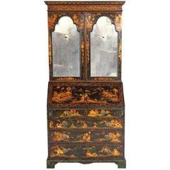 English Chinoiserie Secretary with Mirrored Doors