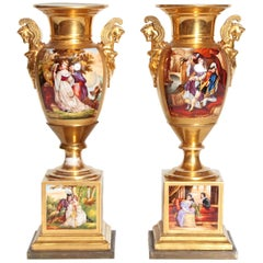 19th Century Pair of French Porcelain Gilt Urns with Scenes