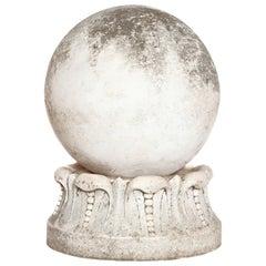Italian Marble Sphere on Carved Pedestal Base / Garden Ornament