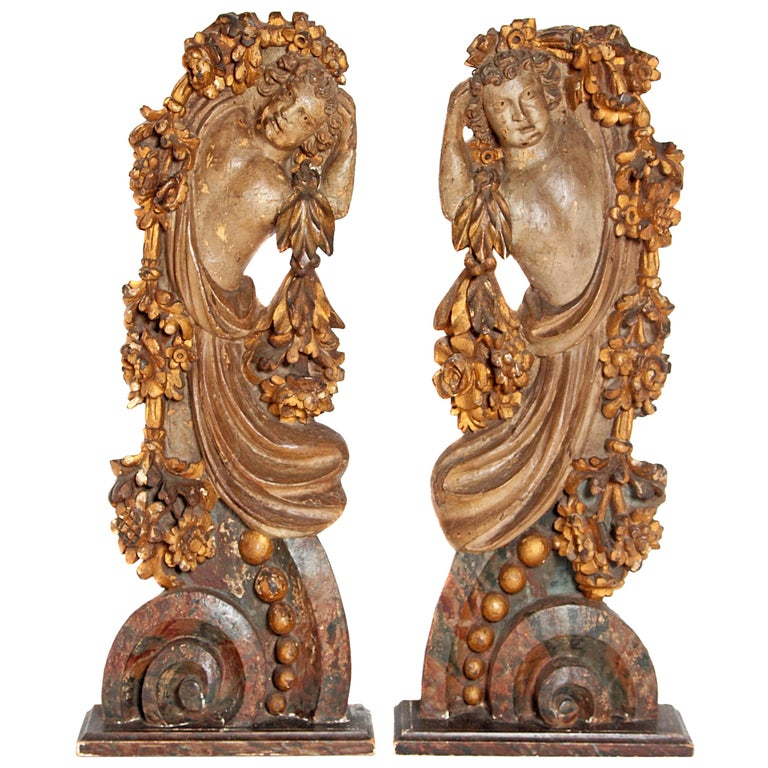 Pair of Italian Polychromed Male Figures or Torsos