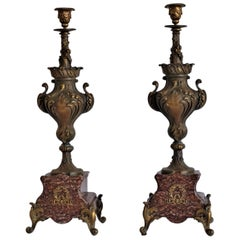 19th Century Pair of Tall Classical Bronze Urn Candleholders on Red Marble Base