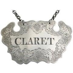 George II Silver Chased Escutcheon Wine Label 'Claret' Provincial, circa 1750