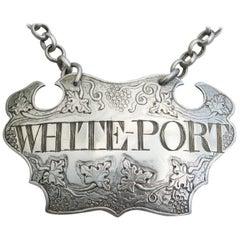 George II Silver Chased Escutcheon Wine Label 'White Port', Small Size