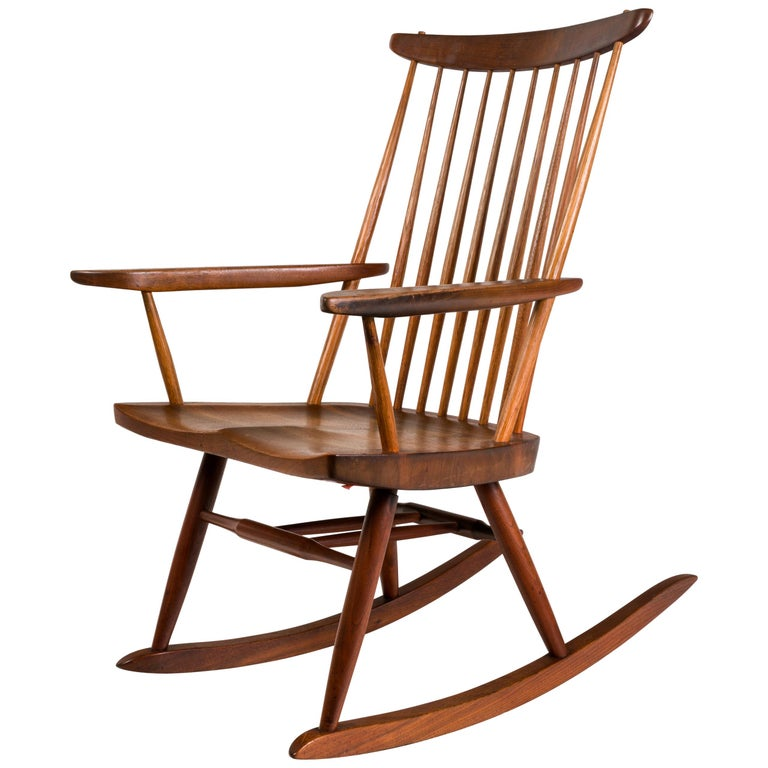 "George Nakashima Walnut and Poplar ""New Chair"" Rocker, USA, 1961"