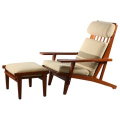 Lounger with Ottoman Solid Oak Designed Hans Wegner for GETAMA