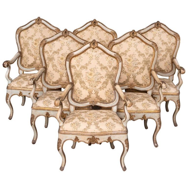 Set of Six 19th Century Venetian Armchairs For Sale