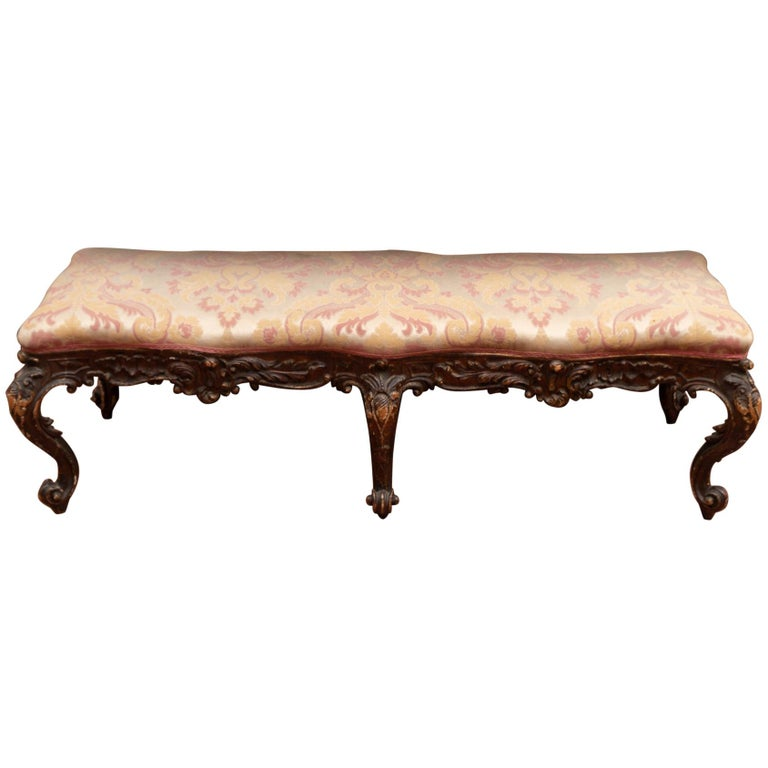 18th Century Carved Italian Bench For Sale