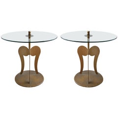 1960s Italian Parcel-Gilt Sculptural Steel Side Tables, a Pair