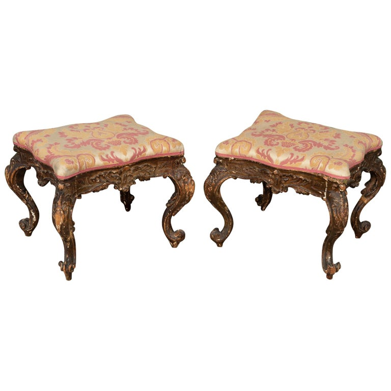 Pair of 18th Century Carved Italian Benches For Sale