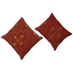 Pair of Cactus Silk Red Pillows
