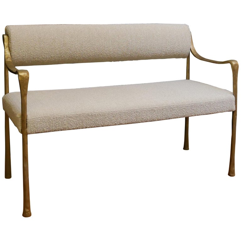 Giac Settee with Aluminum Hand-Patinaed Frame Contemporary Seating COL/COM For Sale