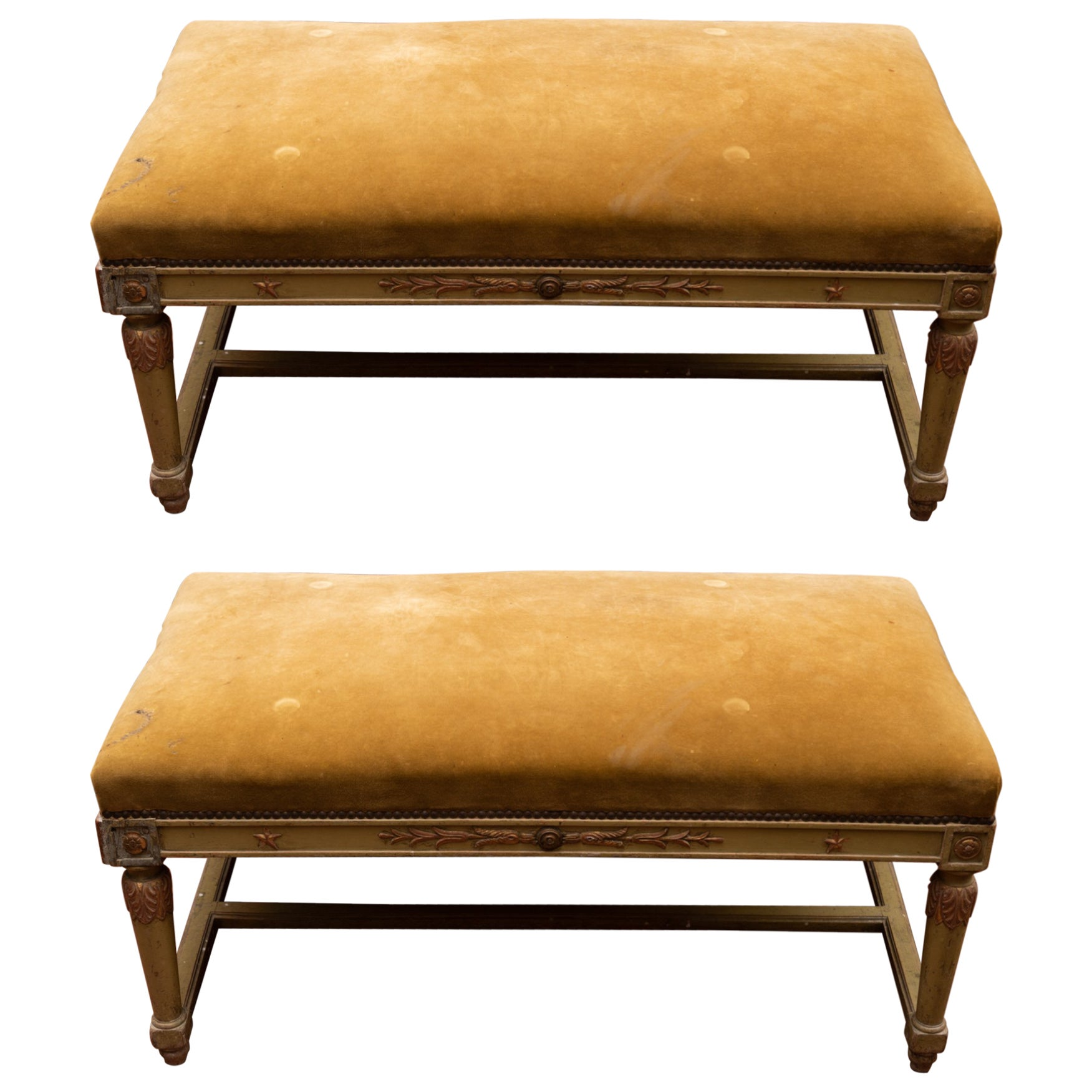 Pair of 19th Century French Painted Benches