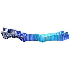 Blue Mk Long Striped Glass Decoration Centerpiece by Orfeo Quagliata