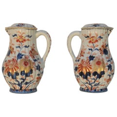 Pair of Chinese Kangxi Period Imari Jugs and Covers, circa 1700
