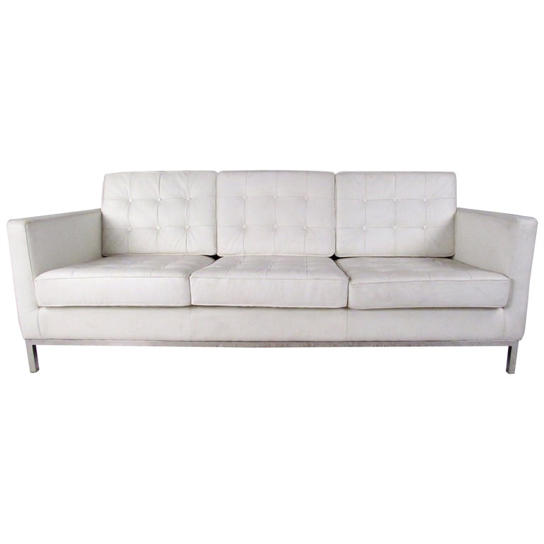 Modern Three-Seat Sofa with Chrome Frame