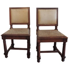 CLOSE OUT SALE: 19th Century Pair of English Side Chairs with Upholstered Backs