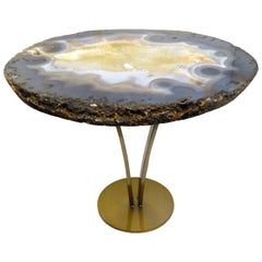 Side or Cocktail Table, Brazilian Agate with Metal Base