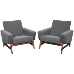 Pair of Teak Mid Base Midcentury Swedish Lounge Chairs in Grey Belgian Fabric