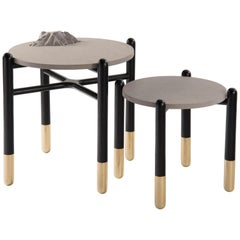 Isla Side Tables, Stone and Black Oak