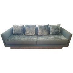 Custom Tuxedo Sofa with Alligator Rised Print Fabric
