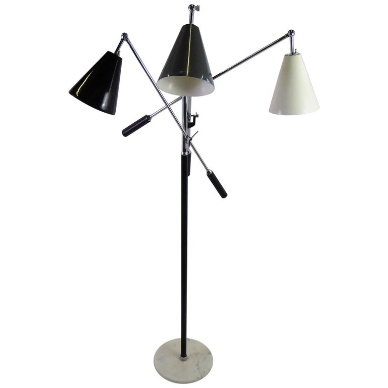 Angelo Lelli Style Design Triennale Three-Arm Articulating Floor Lamp, 1960s