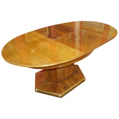 Dining Hexagonal Spruce Wood, Walnut Veneer Table, Enlarging, circa 1910