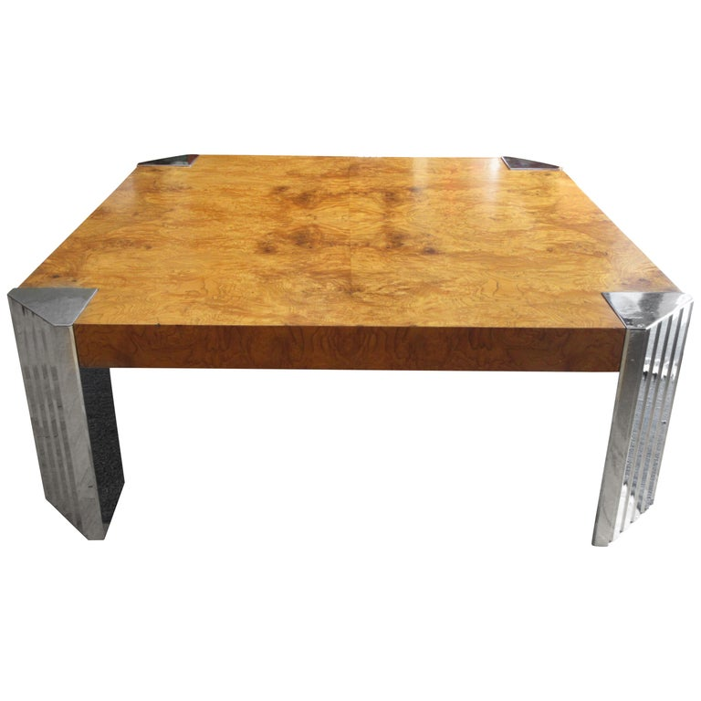 Milo Baughman for Pace Burl and Chrome Coffee Table For Sale
