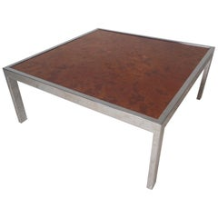 Mid-Century Modern Square Chrome Coffee Table by Milo Baughman