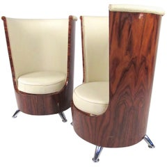 Pair of Italian Modern Highback Club Chairs