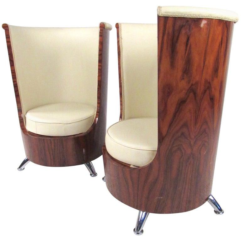 Pair of Italian Modern Highback Club Chairs