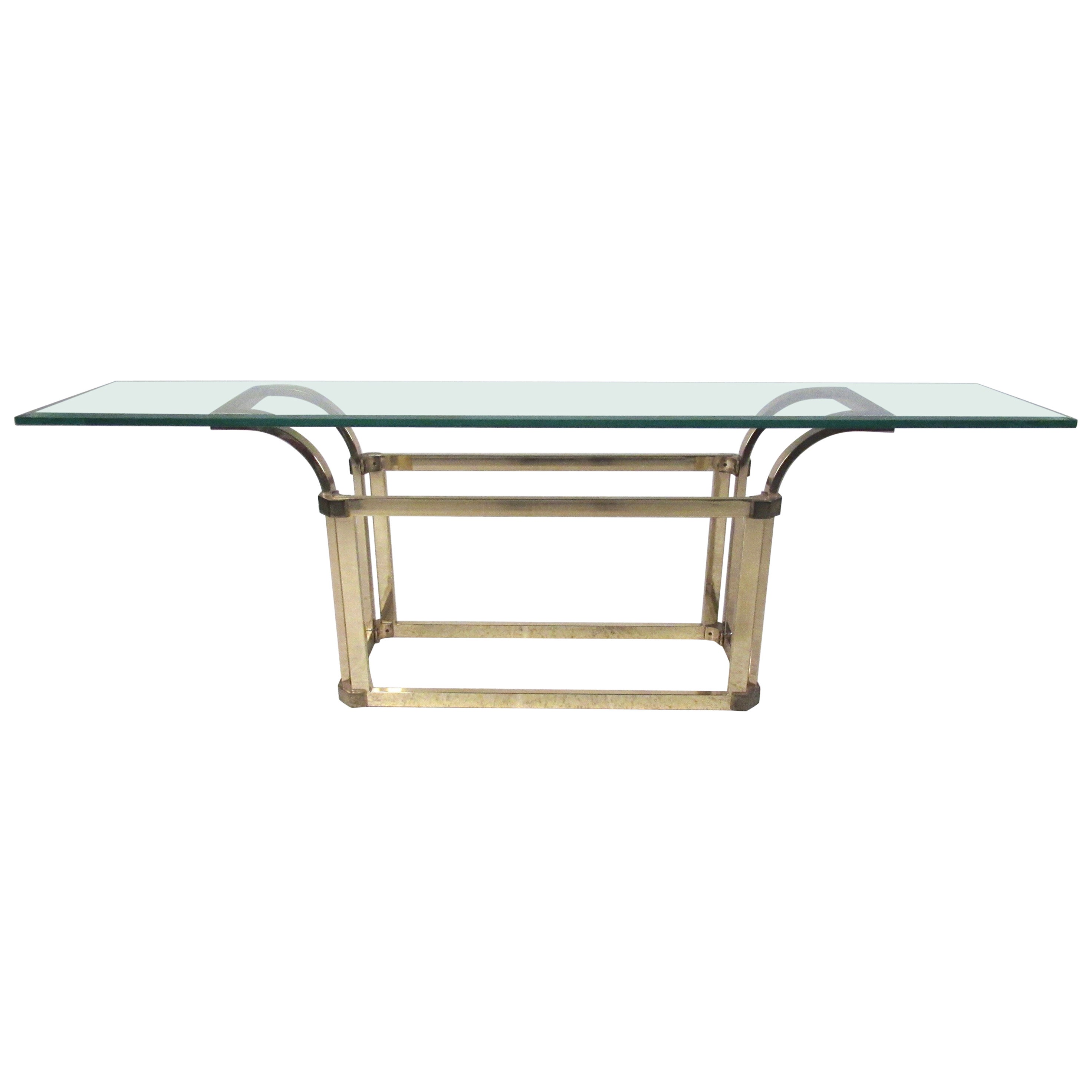 Vintage Modern Brass and Glass Console Table