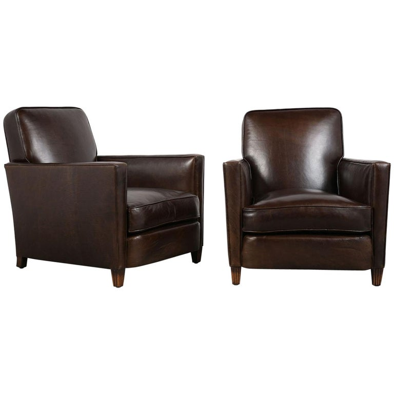 Unique Pair of French 1930s Art Deco Leather Club Chairs
