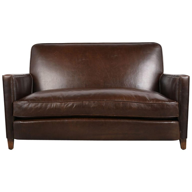 French Art Deco Leather Sofa or Love-Seat, circa 1930s