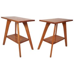 Pair of Midcentury Maple Two-Tier Side Tables