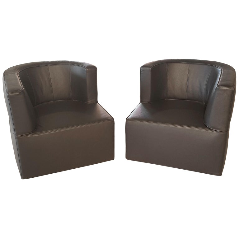 Pair of Rotating Black Leather Armchairs