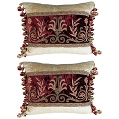 Pair of Metallic Embroidered Velvet Pillows with Tassel Trim