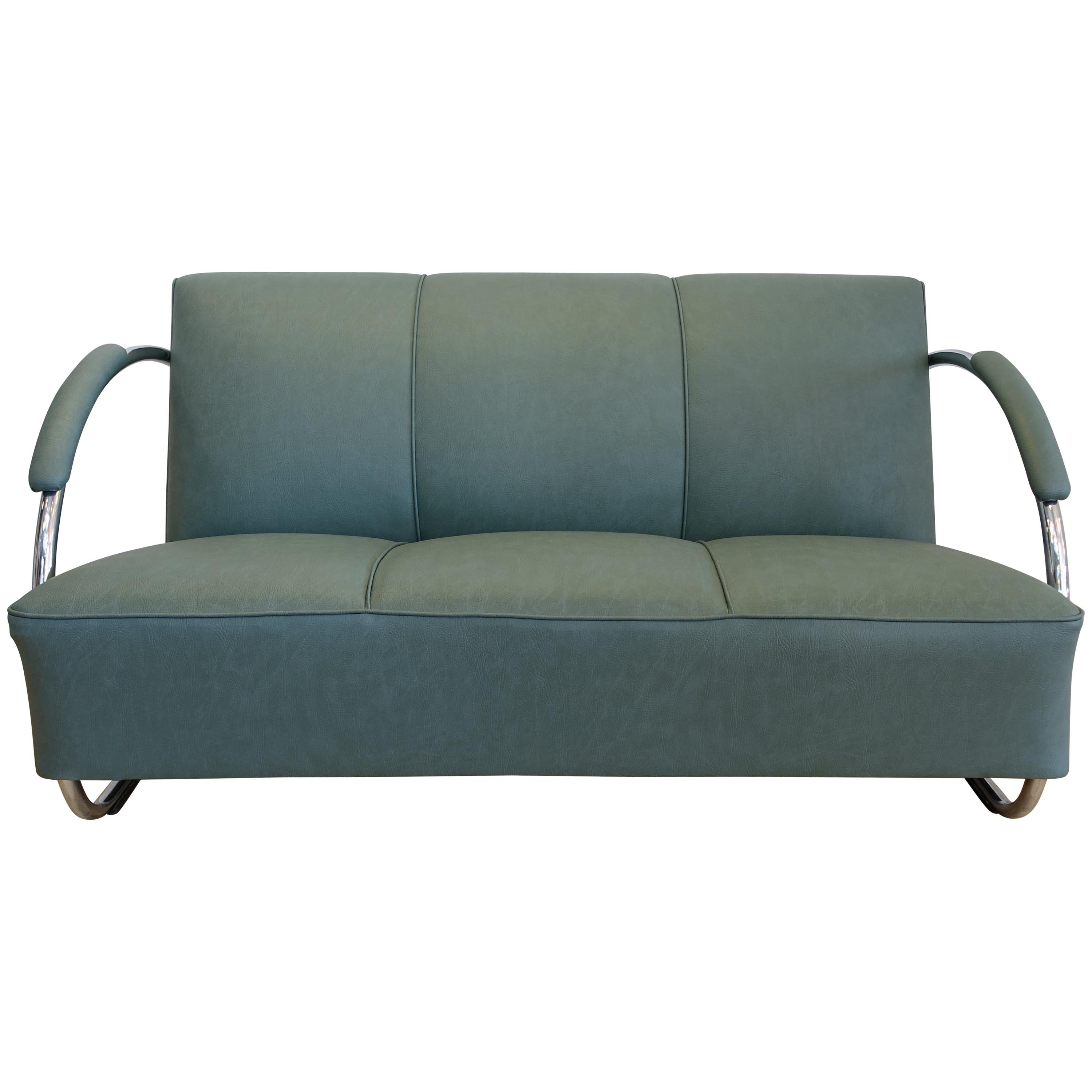 Streamline Chromed Steel And Green Synthetic Leather Sofa, 1930s For Sale