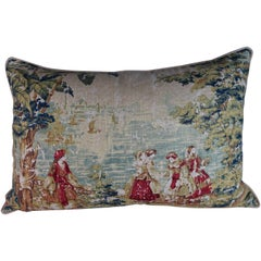 English Printed Linen Pillow with Figural Scene