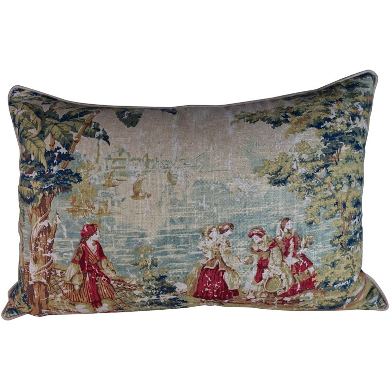 English Printed Linen Pillow with Figural Scene For Sale
