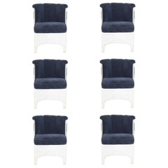 Six Vladimir Kagan Barrel Lucite Dining Chairs