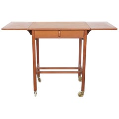 Bertail Fridhagen Designed Midcentury Teak Rolling Bar Cart, Bodafors, Sweden