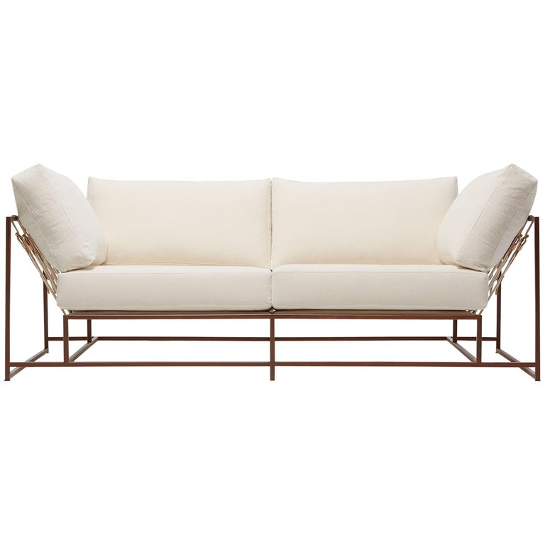 Natural Canvas and Marbled Rust Two-Seat Sofa