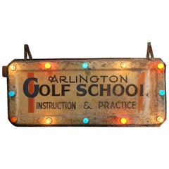 "Antique Light Up Sign ""Golf School"""
