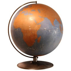 Oversized 1940s American Original Aviation World Globe by A.J. Nystrom & Co.
