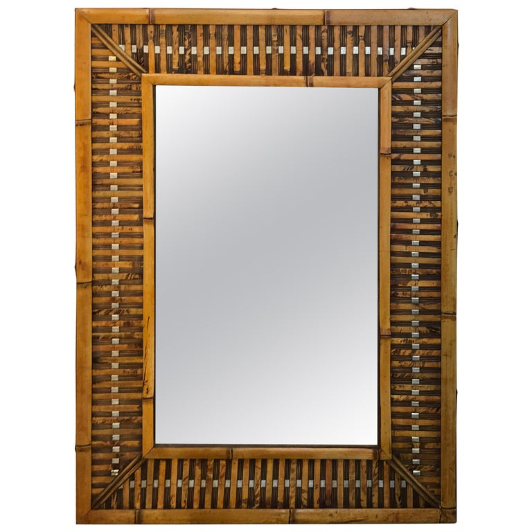 Midcentury Bamboo and Inset Chrome Mirror For Sale