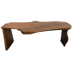 Midcentury Live Edge Walnut Slab Console Table