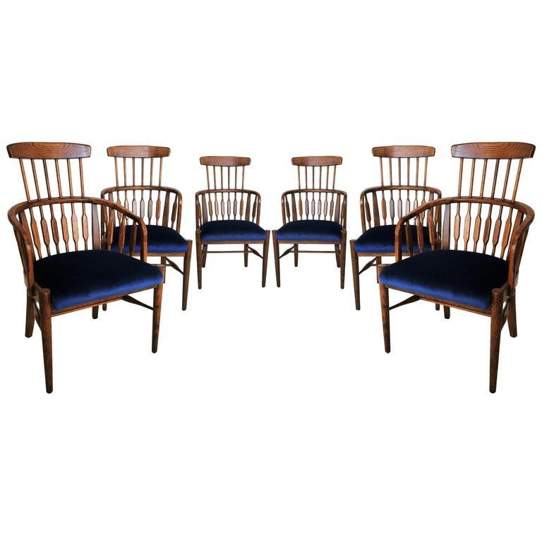 Set of Six Modernist Windsor Style Dining Chairs