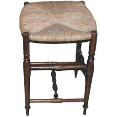 Reproduction French Louis XVI Style Bar Stool with Rush Seat and No Back